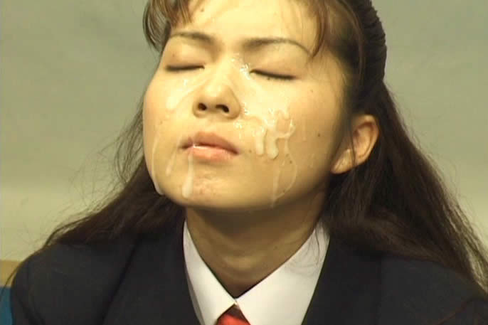 Japanese schoolgirls get messy bukkake facials